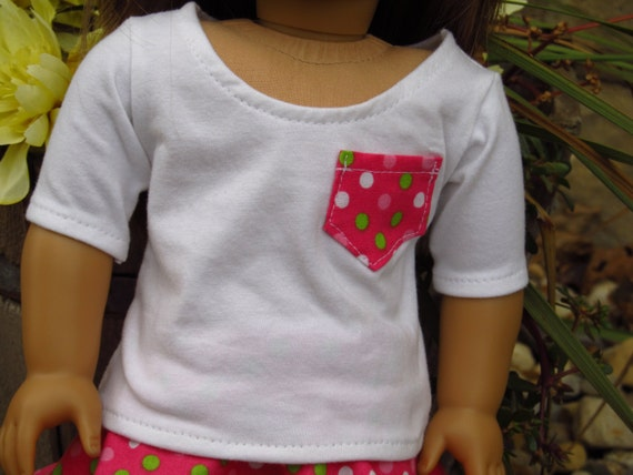 3/4 Length White Shirt with Pocket - American Girl Doll Clothes