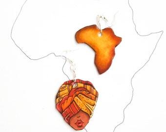 Afro Earrings - Custom Earrings - Paper Earrings - Paper Jewelry - Boho Earrings - Boho Chic - Mismatched Earrings -  Recycled earrings