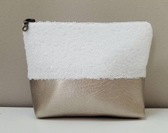 Sequin and Faux Leather Cosmetic & Toiletry Bag - White Sequin, Champagne Gold  Faux Leather, Matte Satin Lining