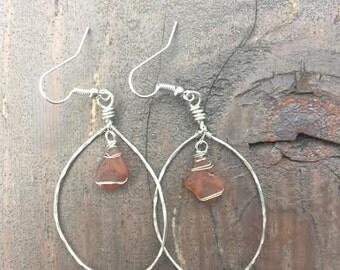 Brown Sea Glass Hammered Teardrop Earrings
