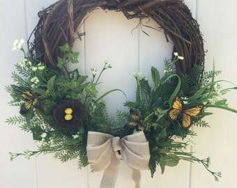 Spring Wreath, Greens and Ivy Wreath, Butterfly Wreath, Ivy Wreath, Greens Wreath, Butteryfly Greens Wreath