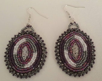 Purple silver and white Iridescent earrings