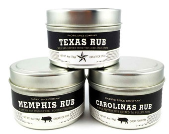 Classic American BBQ Rubs Gift Set - Three 2.4 oz (68g) BBQ Rubs for Meats - Great Gift - Memphis, Texas, and Carolina Style
