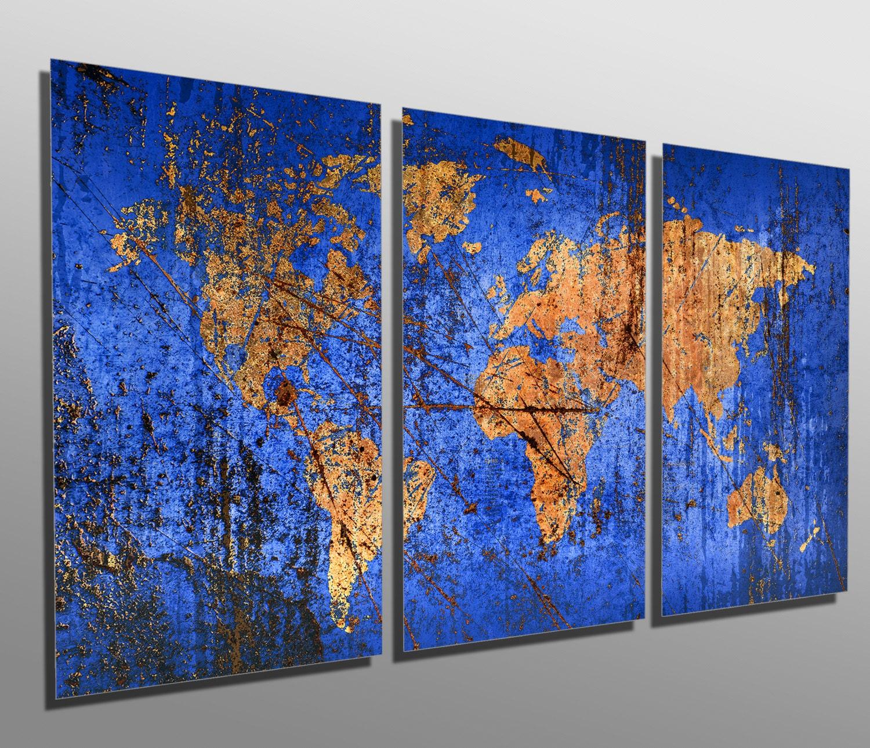 3 Panel Split Art World Map Canvas Print Triptych For: Metal Prints Abstract Blue World Map 3 Panel Split