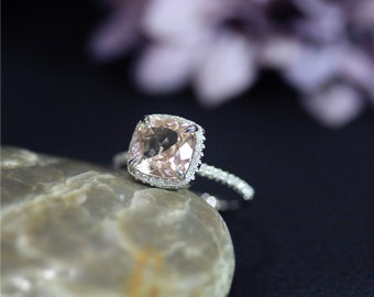 Engagement Ring 8mm Cushion Cut Natural VS Morganite Ring Solid 14K White Gold Ring Diamonds Ring Wedding Ring Promise Ring Anniversary Ring