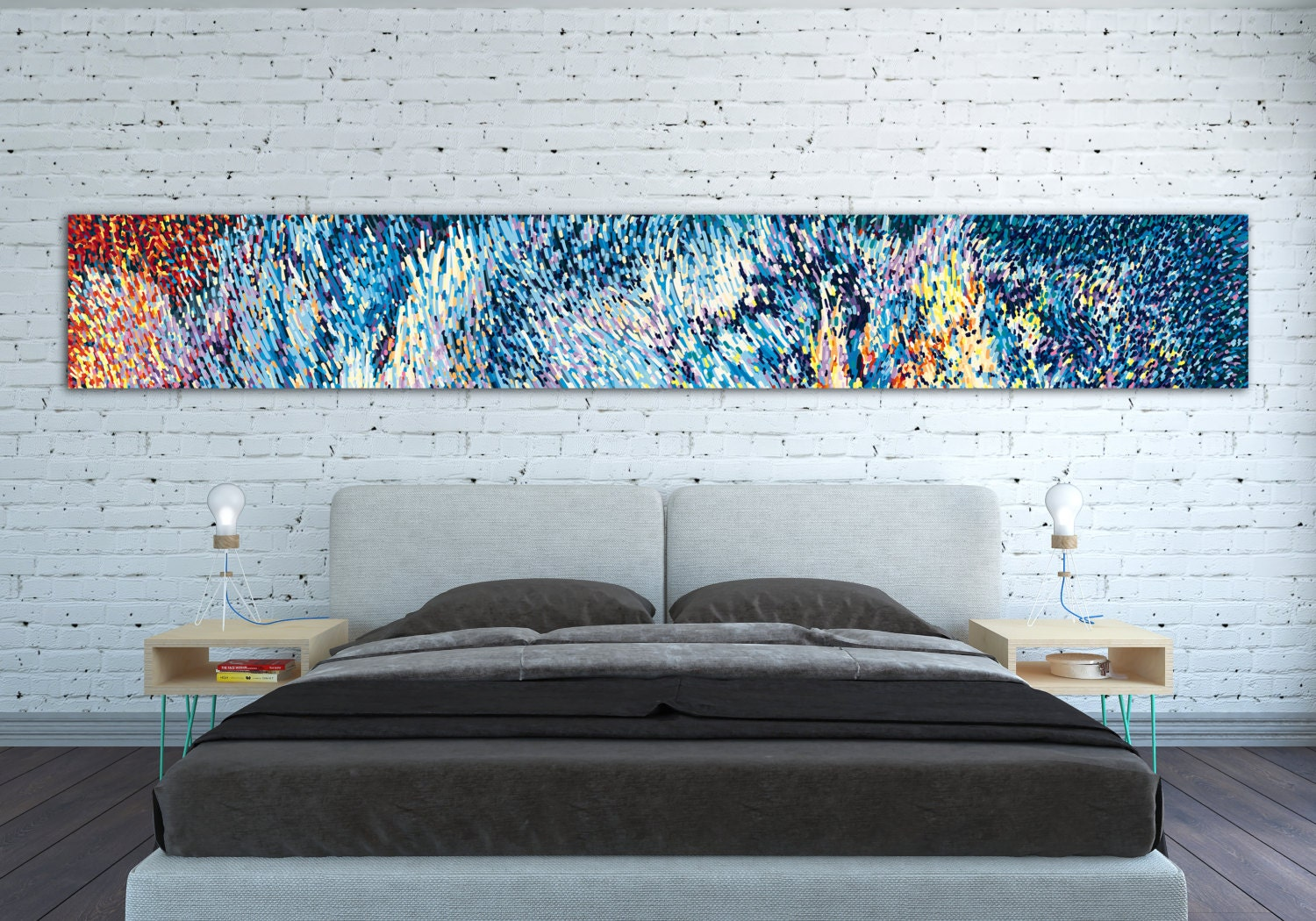 Wall Decor Horizontal : Canvas print horizontal extra long large abstract
