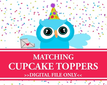 Cupcake Toppers, Matching Party Decorations, Digital
