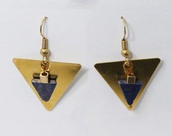 Brass triangle Pyramid Earrings Lapis Lazuli
