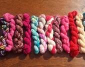 Mini Skeins set #8, Sock yarn Minis, 12 mini skeins, 5 Grams each- Ready to Ship