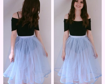 Custom made tea length dress net double layer skirt