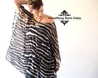 Light Tunic caftan, Transparent evening over blouse