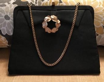 Vintage Black Purse, Bow Detail Evening Bag with Gold Leaf Embellishment, Party Purse