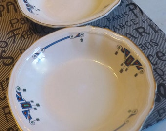 PAIR of quite vintage (c1930) Alfred MEAKIN Orient pattern art-deco fruit nappies, berry or dessert bowls. Marigold-Astoria. 18K-gold edge.