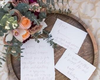 Simple, Romantic Handwritten Calligraphy Custom Invitation Suite - Watercolor