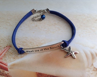 Nautical Meet me at the Beach Word Connector Pearl Bead Blue Suede Cord Starfish Charm Bracelet Jewellery