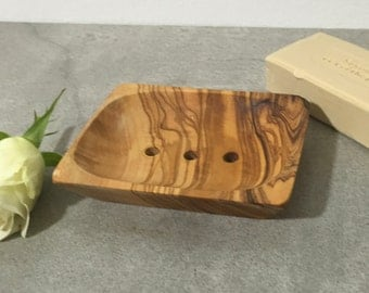 Soap Dish Olive Wood , Rustic Soap Holder, Wooden Soap Safer, perforated, Hand Carved Soap Plate, Restroom Decor, Gift, Massive Wood.