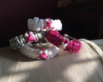 Paracord Breast cancer awareness bracelet friendship support