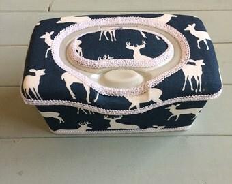 Deer Navy Blue, Wipe Case, Wipes Case, Nursery Wipes Case, Baby Wipe Case, Wipes Holder, Wipes Container, Baby Gift, Babyshower