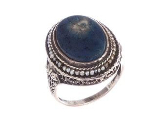 Art Deco Sterling Silver Filigree Sea Pearl and Lapis Lazuli Ring