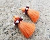 SALE! 15% OFF Tassel Earrings / Orange tassel earrings