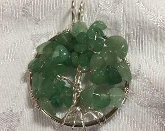 Lt Green Aventurine Tree of Life Pendant