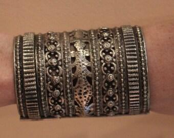 Vintage Afghan Arm Cuff, Bracelet, Mixed Metal