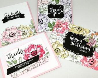 Vintage Flowers_Handmade Card Set