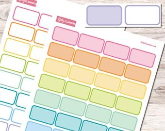 64 Half Boxes Printable Planner Stickers | (Basics Set)