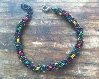 Byzantine Weave Bracelet - Rasta