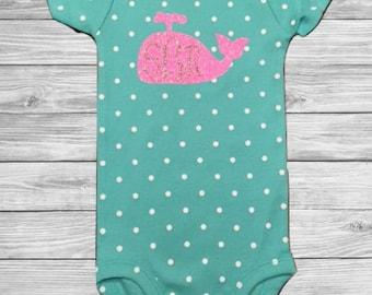 SALE** Whale Monogram Baby Onesie
