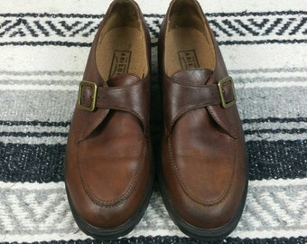 Vintage 1990s Arizona Brown Leather Buckle Loafers size 8.5