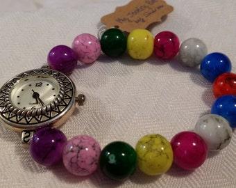 Multi Colored Marbled Glass Quartz Watch Bracelet