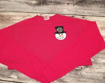 Monogrammed snowman shirt