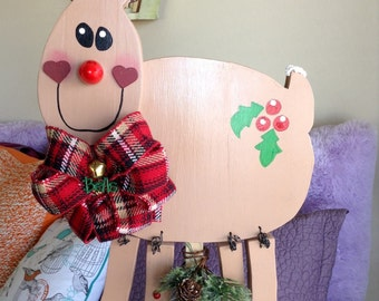 Wooden Reindeer with red light up nose