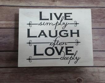 Keepsake Box, Live Laugh Love Jewelry Box, Memory Box, Trinket Box