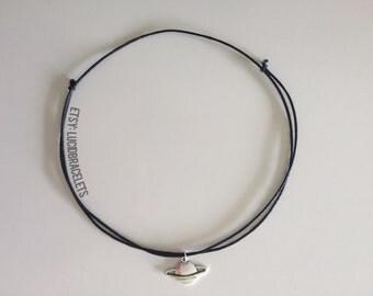 Planet/Saturn Adjustable Choker Necklace BLACK