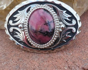 Ladies western belt buckle, rhodonite stone, western wear, cowboy buckle,