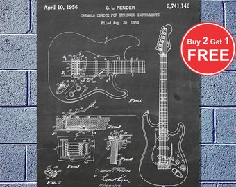 Patent Evolution - Fender Guitar, Vector Blueprint Patent Prints Posters, Electric Guitar (#024)