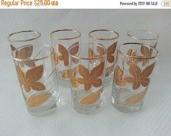 30% Off Sale - Vintage Libbey Gold Leaves Glasses, set of 7 Tumblers 22kt gold, Libbey Glassware