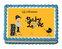 Welcome Baby Love, Baby Boy Edible Baby Shower Image, Personalized Edible Icing.