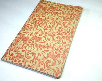 Flower Design Leafy Moleskin Style Notebook Handmade