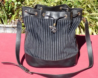 French Luggage Company Small carry on or overnight Bag Black Leather Corduroy