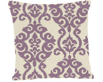 Decorative Pillow Cover, Throw Pillow Cover Lilac Scroll