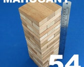 Lot 54 wooden stacking tumbling tower like JENGA blocks MAHOGANY wood family board game