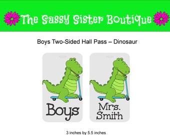 Boys Hall Pass with Dinosaur