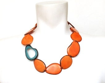 Tagua Necklace, Orange Necklace, Bold Jewellery, Boho Jewelry, Colorful necklace, Bridesmaid jewelry, Christmas gift ideas, Vegetable ivory