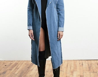 Women's denim coat, denim fray coat
