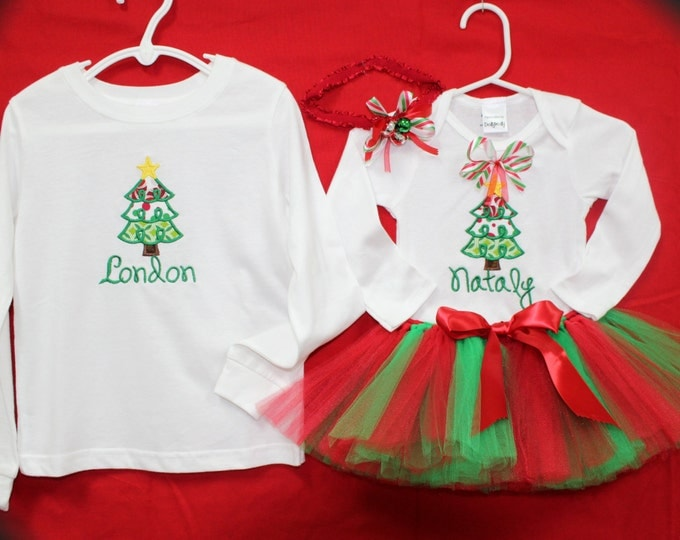 Baby Christmas Outfit, Boys Personalized Christmas shirt, Baby personalized shirt, Christmas tutu, Christmas headband, Sibling matching