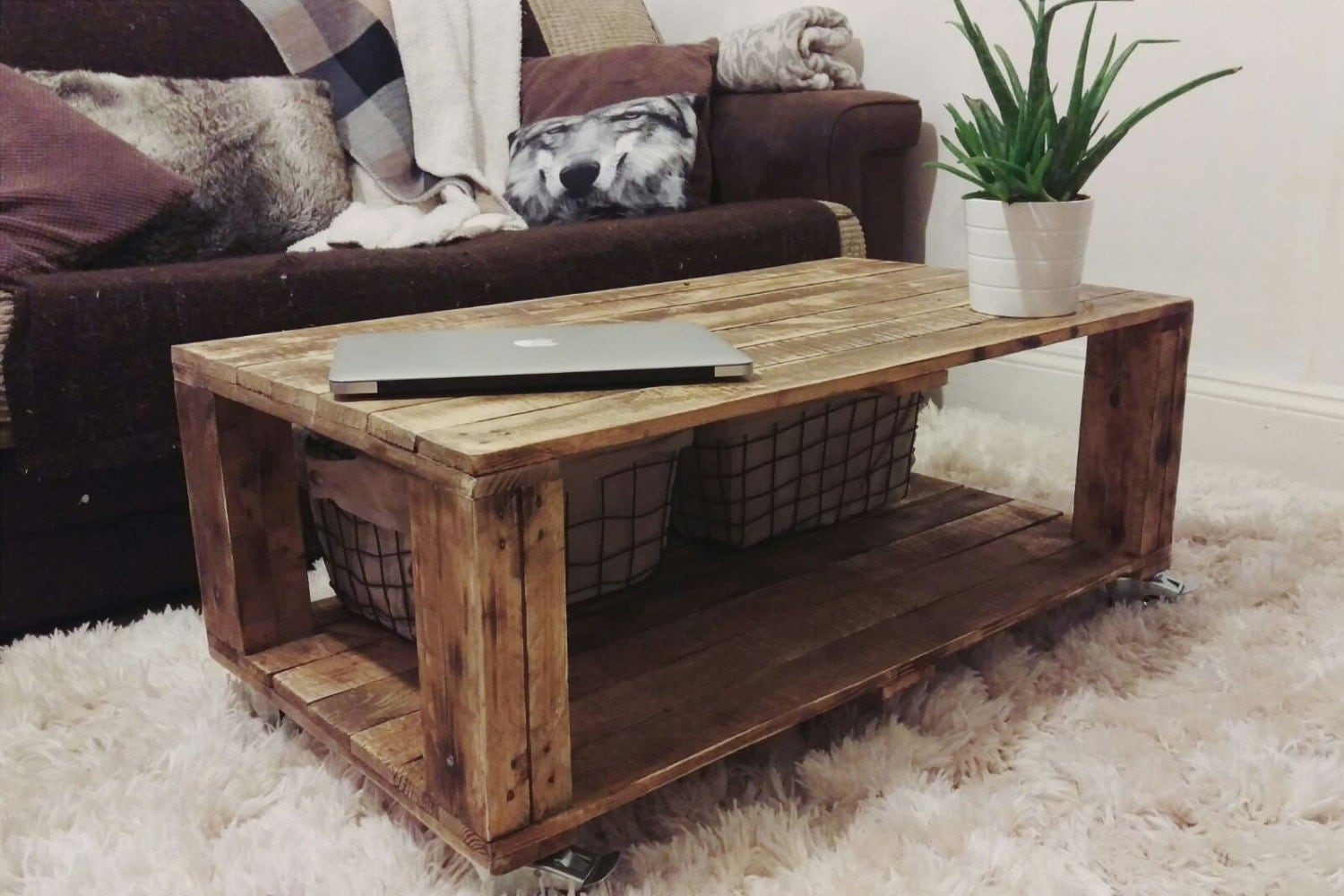 Ahvima industrial pallet coffee table made of reclaimed timber zoom geotapseo Gallery