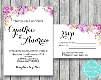 Purple Wedding Invitation Set, Wedding Invitation Printable, Pink Floral Engagement Party Invitation, Wedding Invitation Suite WD72 WI17